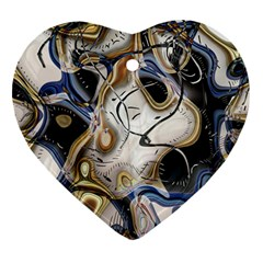 Time Abstract Dali Symbol Warp Heart Ornament (two Sides)
