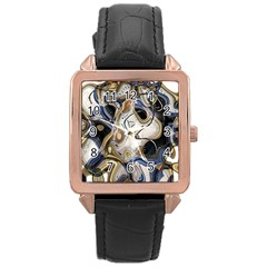 Time Abstract Dali Symbol Warp Rose Gold Leather Watch