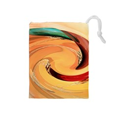 Spiral Abstract Colorful Edited Drawstring Pouches (medium)