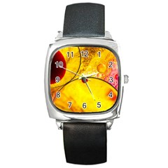Abstract Water Oil Macro Square Metal Watch