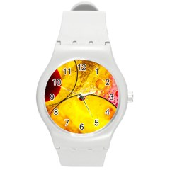 Abstract Water Oil Macro Round Plastic Sport Watch (m)