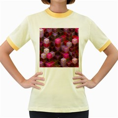 Cube Surface Texture Background Women s Fitted Ringer T Shirts