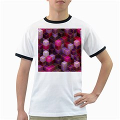 Cube Surface Texture Background Ringer T Shirts