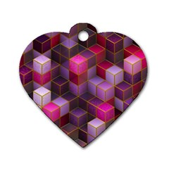 Cube Surface Texture Background Dog Tag Heart (two Sides)