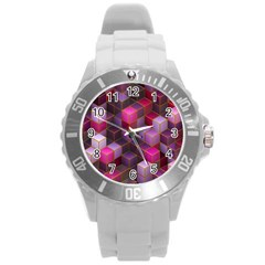Cube Surface Texture Background Round Plastic Sport Watch (l)
