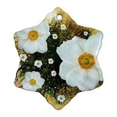 Summer Anemone Sylvestris Snowflake Ornament (two Sides)