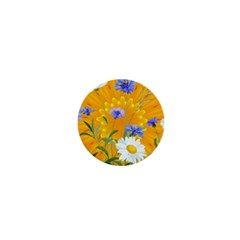 Flowers Daisy Floral Yellow Blue 1  Mini Buttons