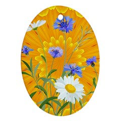Flowers Daisy Floral Yellow Blue Ornament (oval)