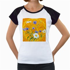 Flowers Daisy Floral Yellow Blue Women s Cap Sleeve T