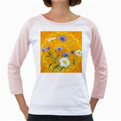 Flowers Daisy Floral Yellow Blue Girly Raglans