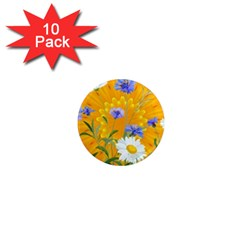 Flowers Daisy Floral Yellow Blue 1  Mini Magnet (10 Pack)