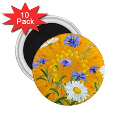 Flowers Daisy Floral Yellow Blue 2 25  Magnets (10 Pack)