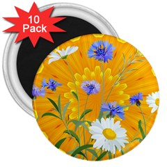 Flowers Daisy Floral Yellow Blue 3  Magnets (10 Pack)