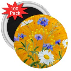 Flowers Daisy Floral Yellow Blue 3  Magnets (100 Pack)