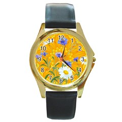 Flowers Daisy Floral Yellow Blue Round Gold Metal Watch