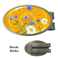 Flowers Daisy Floral Yellow Blue Money Clips (oval)