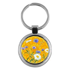 Flowers Daisy Floral Yellow Blue Key Chains (round)