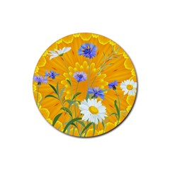 Flowers Daisy Floral Yellow Blue Rubber Round Coaster (4 Pack)