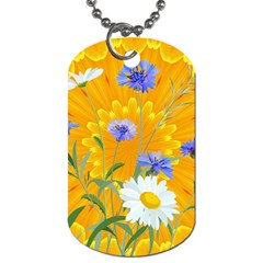 Flowers Daisy Floral Yellow Blue Dog Tag (one Side)