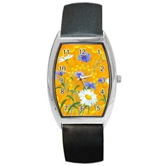Flowers Daisy Floral Yellow Blue Barrel Style Metal Watch