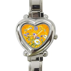 Flowers Daisy Floral Yellow Blue Heart Italian Charm Watch
