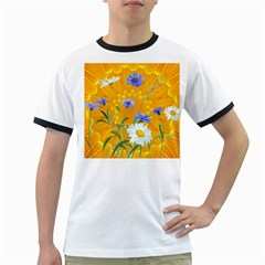 Flowers Daisy Floral Yellow Blue Ringer T Shirts