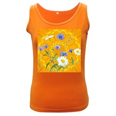 Flowers Daisy Floral Yellow Blue Women s Dark Tank Top