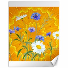Flowers Daisy Floral Yellow Blue Canvas 18  X 24