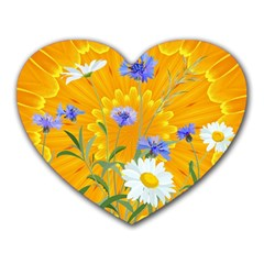 Flowers Daisy Floral Yellow Blue Heart Mousepads