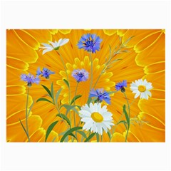 Flowers Daisy Floral Yellow Blue Large Glasses Cloth (2 Side)