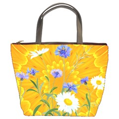 Flowers Daisy Floral Yellow Blue Bucket Bags