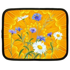 Flowers Daisy Floral Yellow Blue Netbook Case (xxl)