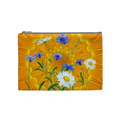 Flowers Daisy Floral Yellow Blue Cosmetic Bag (medium)