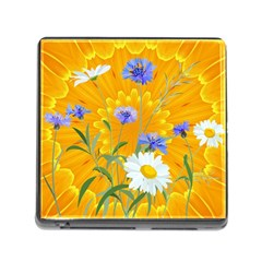 Flowers Daisy Floral Yellow Blue Memory Card Reader (square)