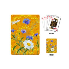 Flowers Daisy Floral Yellow Blue Playing Cards (mini)