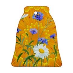 Flowers Daisy Floral Yellow Blue Ornament (bell)