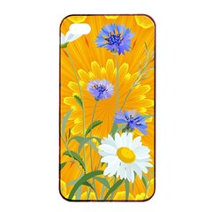 Flowers Daisy Floral Yellow Blue Apple Iphone 4/4s Seamless Case (black)