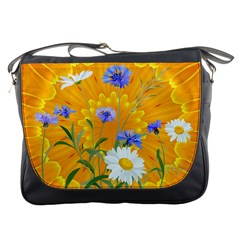 Flowers Daisy Floral Yellow Blue Messenger Bags