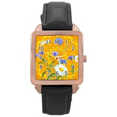 Flowers Daisy Floral Yellow Blue Rose Gold Leather Watch