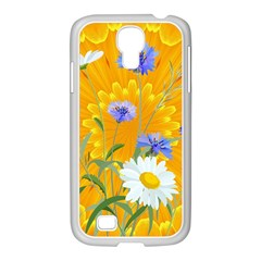 Flowers Daisy Floral Yellow Blue Samsung Galaxy S4 I9500/ I9505 Case (white)
