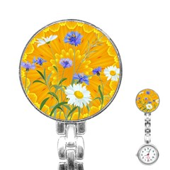 Flowers Daisy Floral Yellow Blue Stainless Steel Nurses Watch