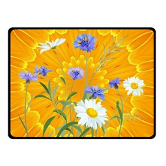Flowers Daisy Floral Yellow Blue Double Sided Fleece Blanket (small)