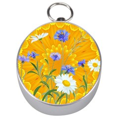 Flowers Daisy Floral Yellow Blue Silver Compasses
