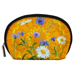 Flowers Daisy Floral Yellow Blue Accessory Pouches (large)
