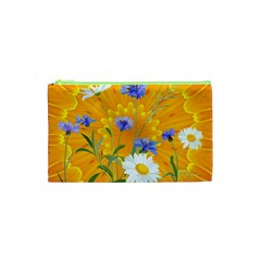 Flowers Daisy Floral Yellow Blue Cosmetic Bag (xs)