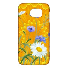 Flowers Daisy Floral Yellow Blue Galaxy S6