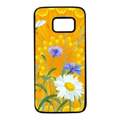 Flowers Daisy Floral Yellow Blue Samsung Galaxy S7 Black Seamless Case