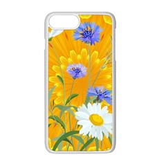 Flowers Daisy Floral Yellow Blue Apple Iphone 8 Plus Seamless Case (white)