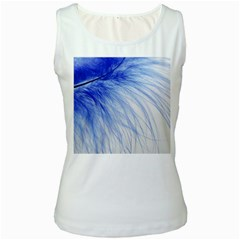 Feather Blue Colored Women s White Tank Top