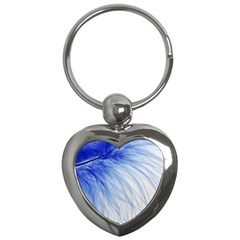 Feather Blue Colored Key Chains (heart)